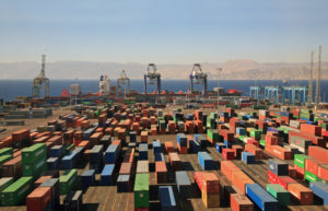 infinitely many containers in a cargo port on red sea